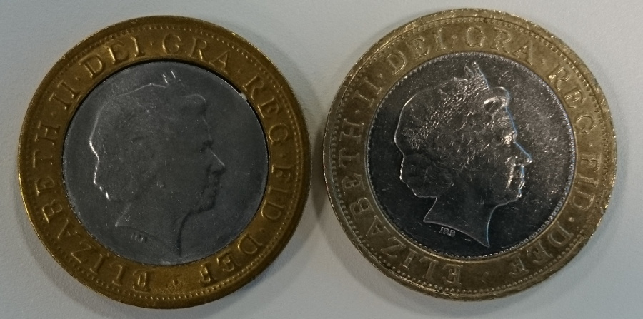 Obverse of real and fake coin, side by side