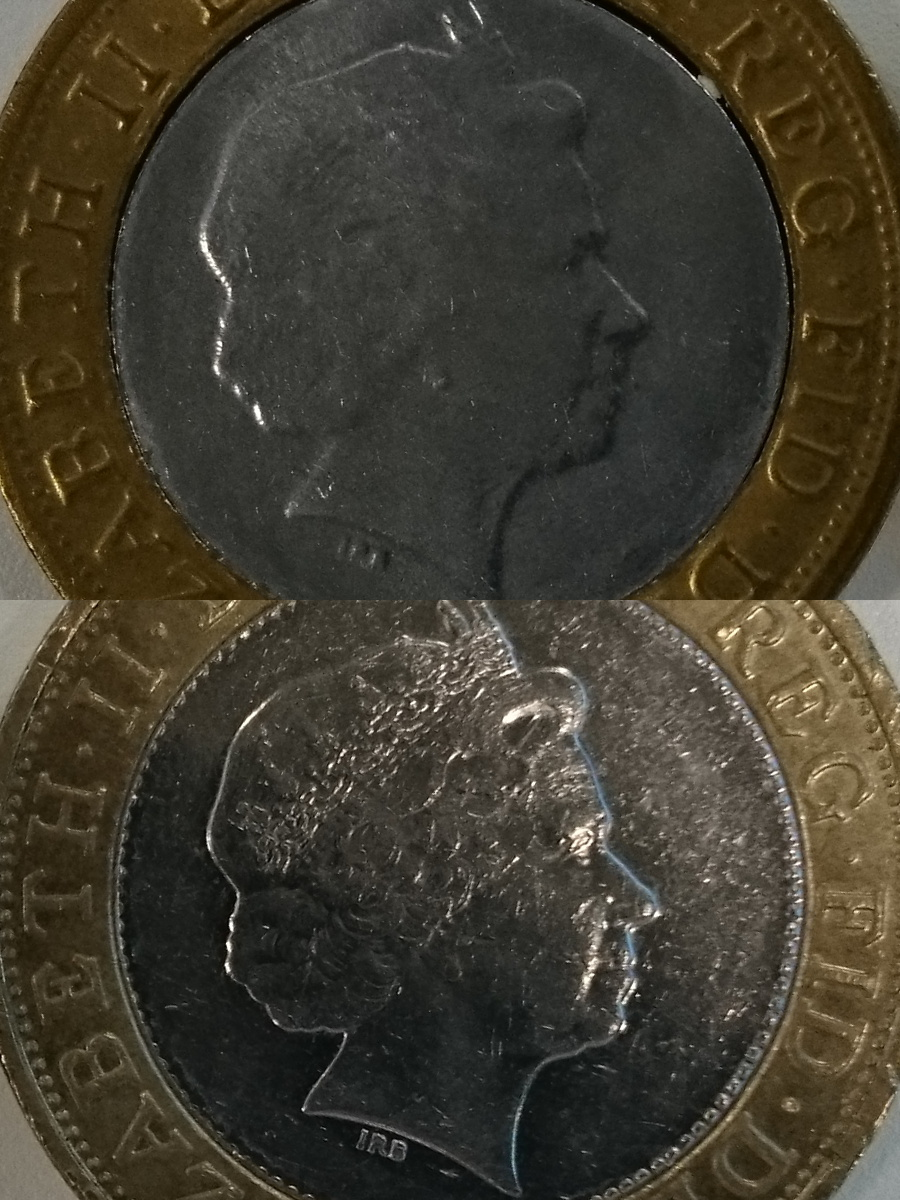 Obverse of real and fake coins