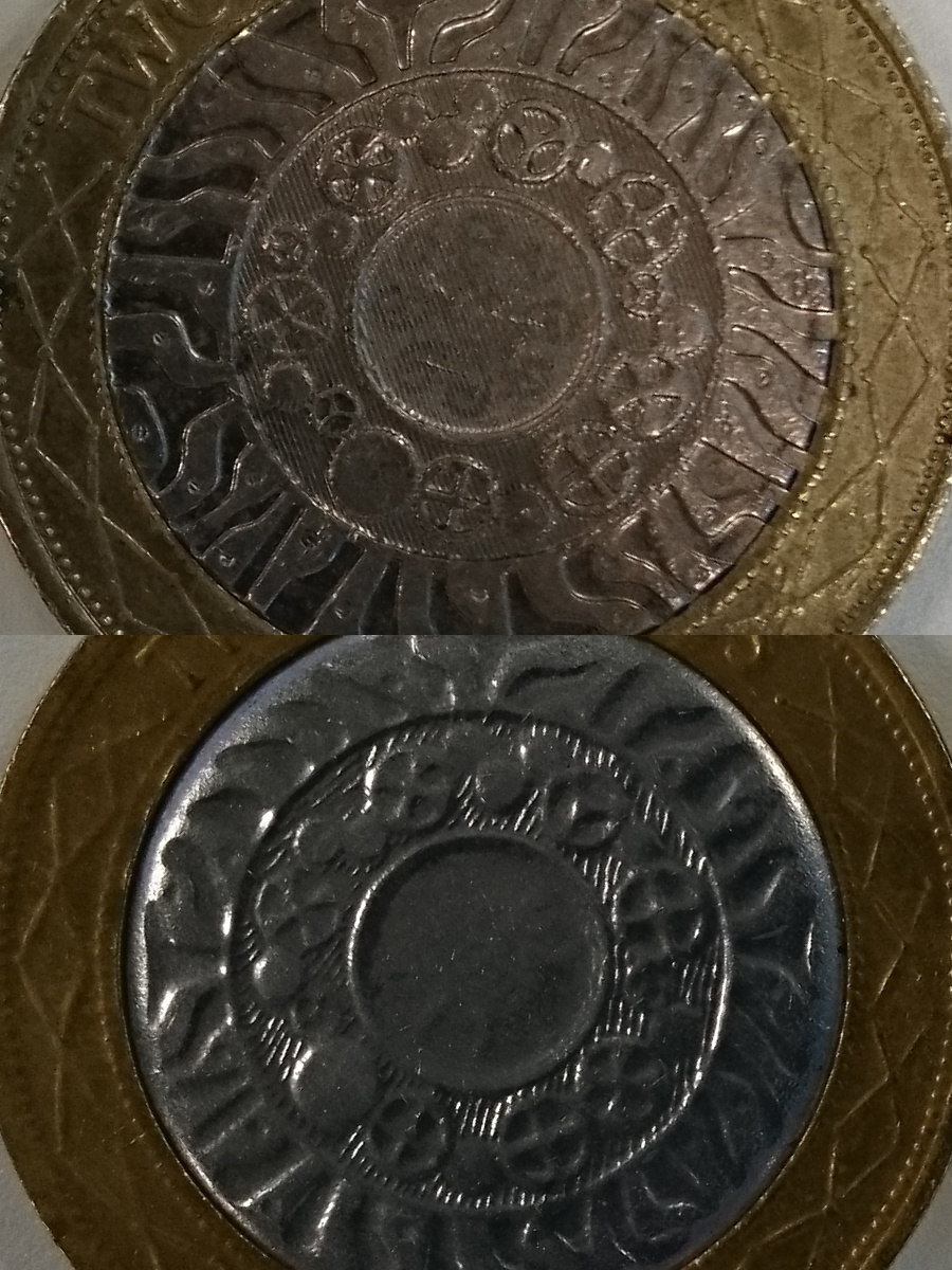 Reverse of real and fake coins